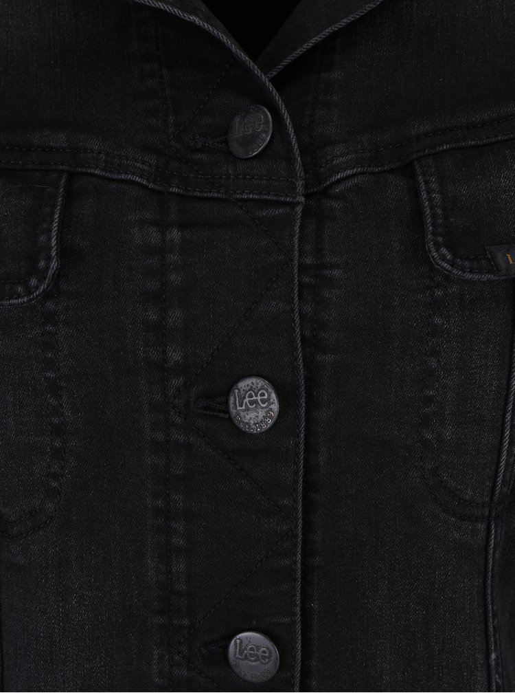 Jacheta slim neagra din denim - Lee Rider