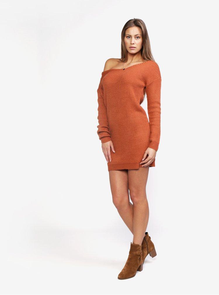 Cihlové svetrové šaty s odhaleným ramenem MISSGUIDED