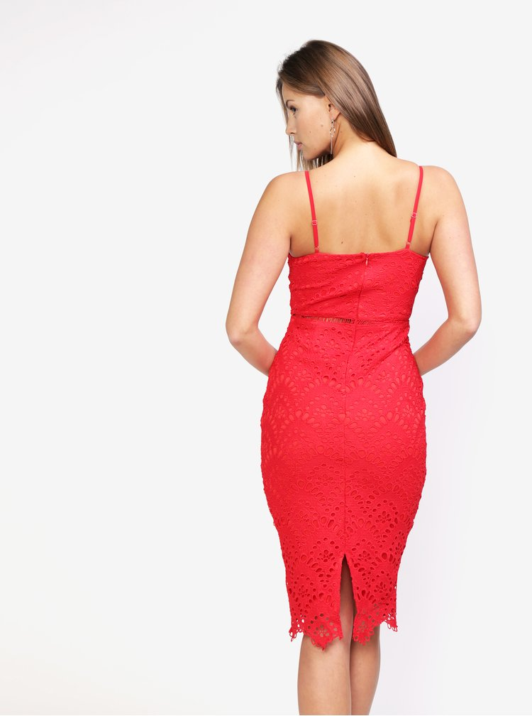 Červené krajkové šaty na ramínka MISSGUIDED