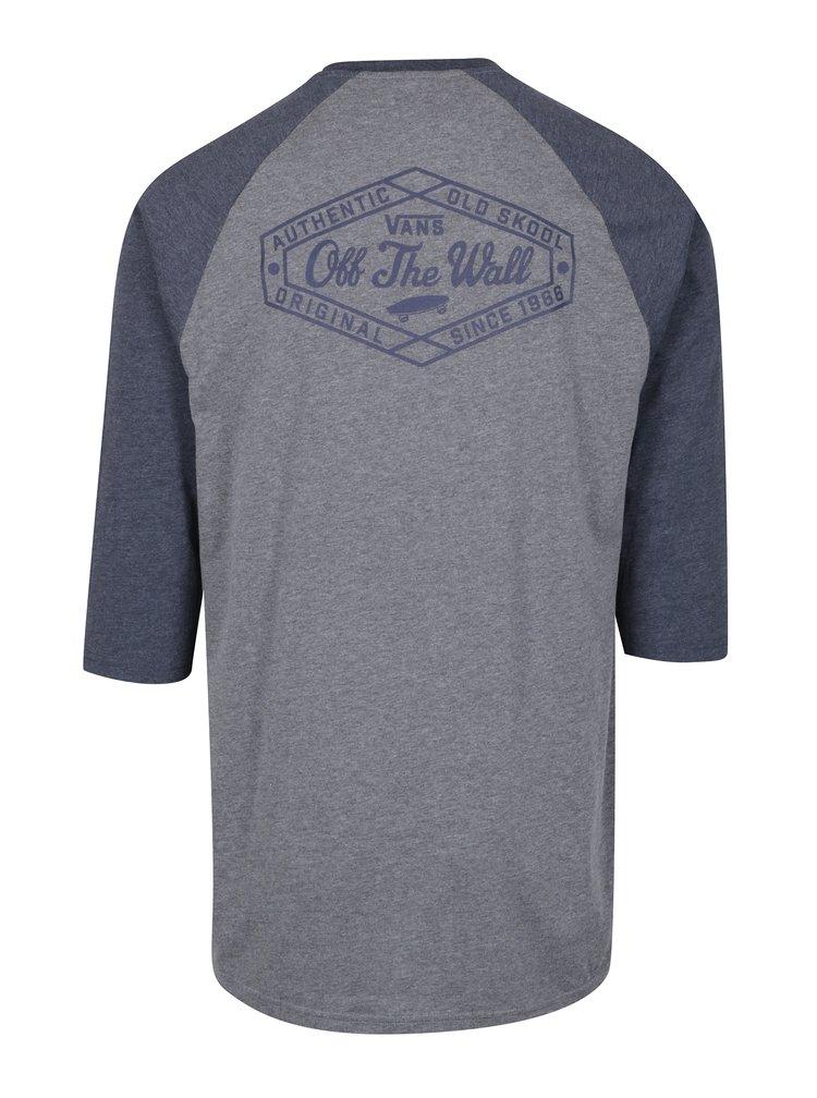 Šedé pánské custom fit tričko s potiskem na zádech VANS Original Lock