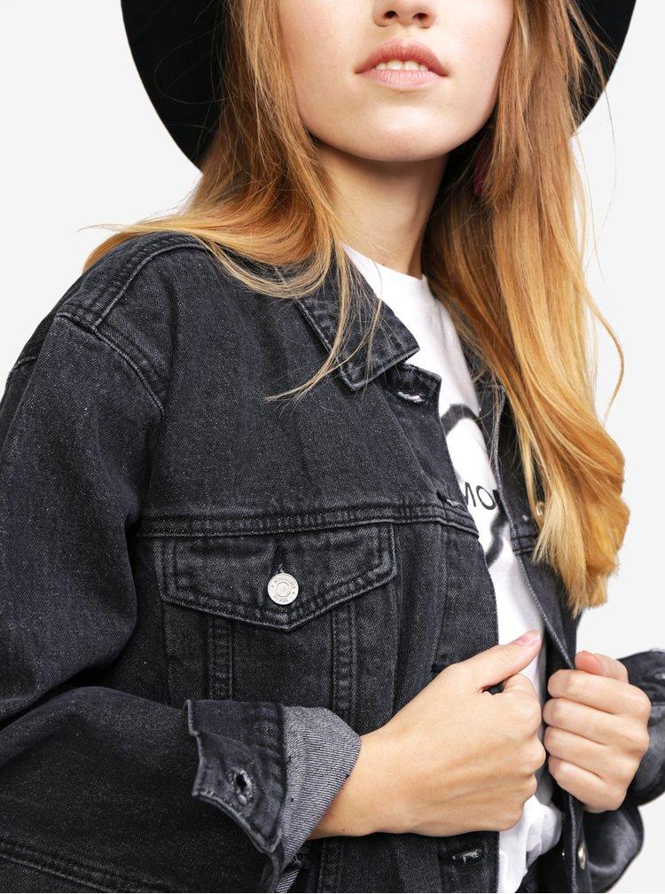 Tmavě šedá oversize džínová bunda MISSGUIDED