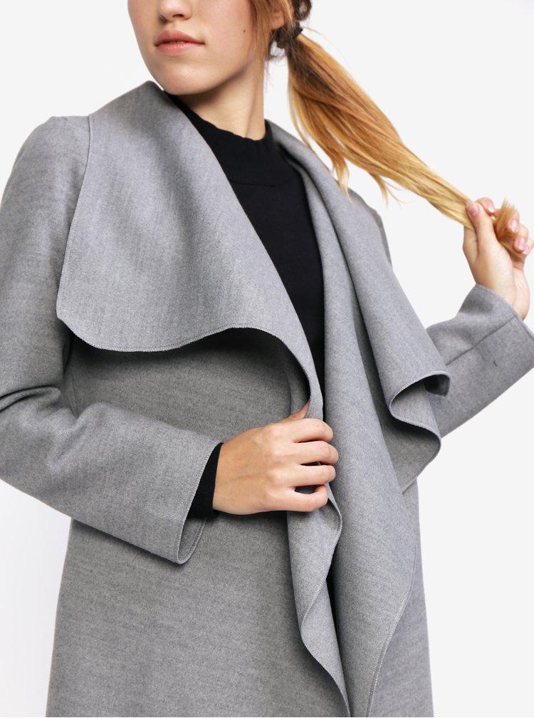 Jacheta lunga gri cu rever maxi - MISSGUIDED