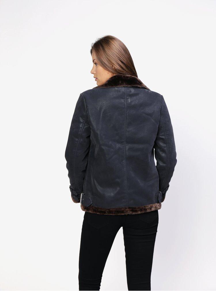 Tmavě šedý zimní koženkový křivák s umělým kožíškem  MISSGUIDED