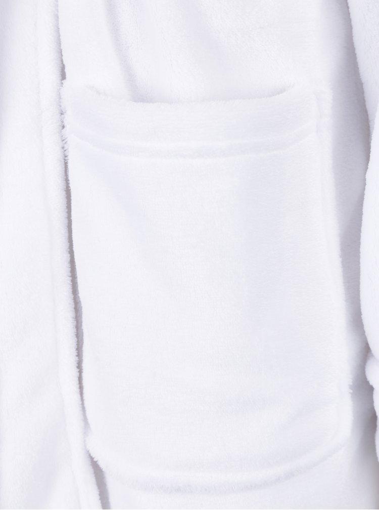 Halat de baie alb cu logo auriu brodat si buzunare -  Lauren Ralph Lauren So Soft