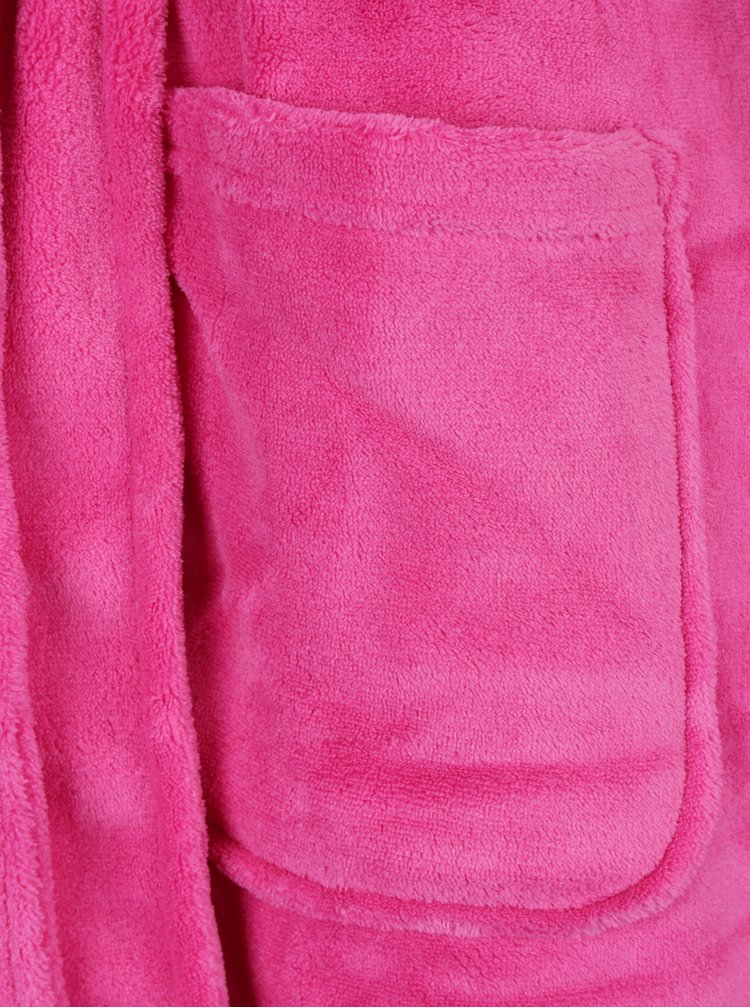 Halat de baie roz cu buzunare si logo brodat - Lauren Ralph Lauren So Soft Robes