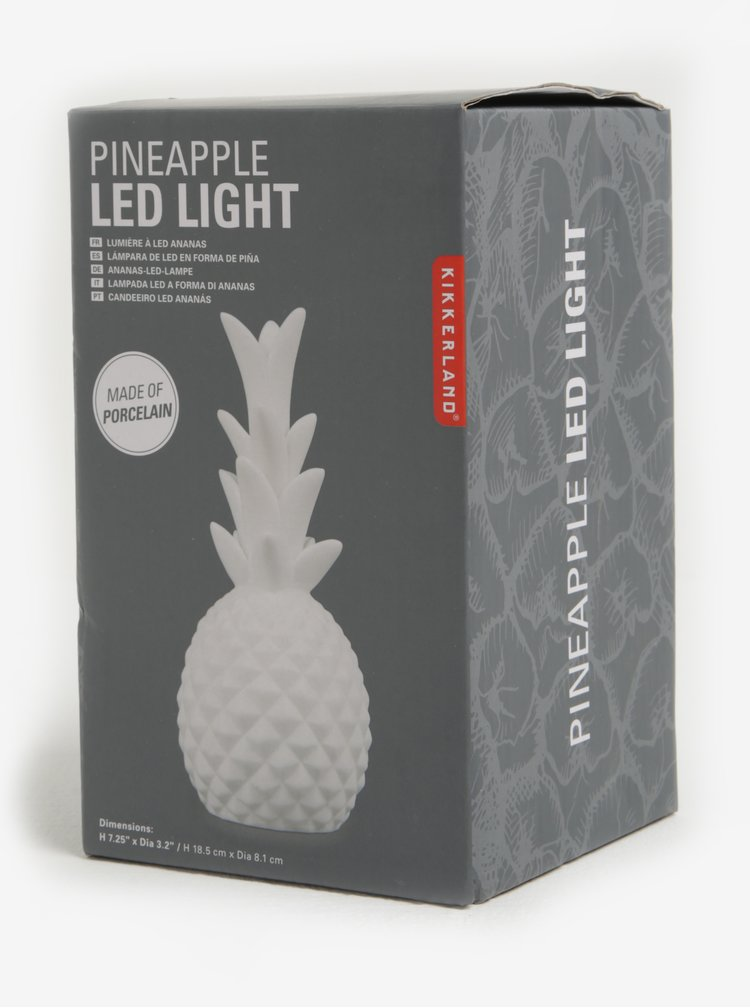 Svítící porcelánová dekorace ve tvaru ananasu Kikkerland