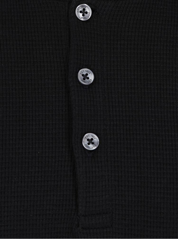 Černé tričko s dlouhým rukávem a knoflíky Burton Menswear London