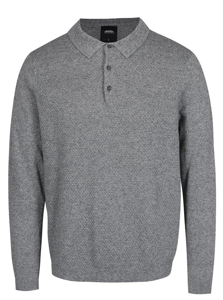 Šedý svetr s límečkem Burton Menswear London