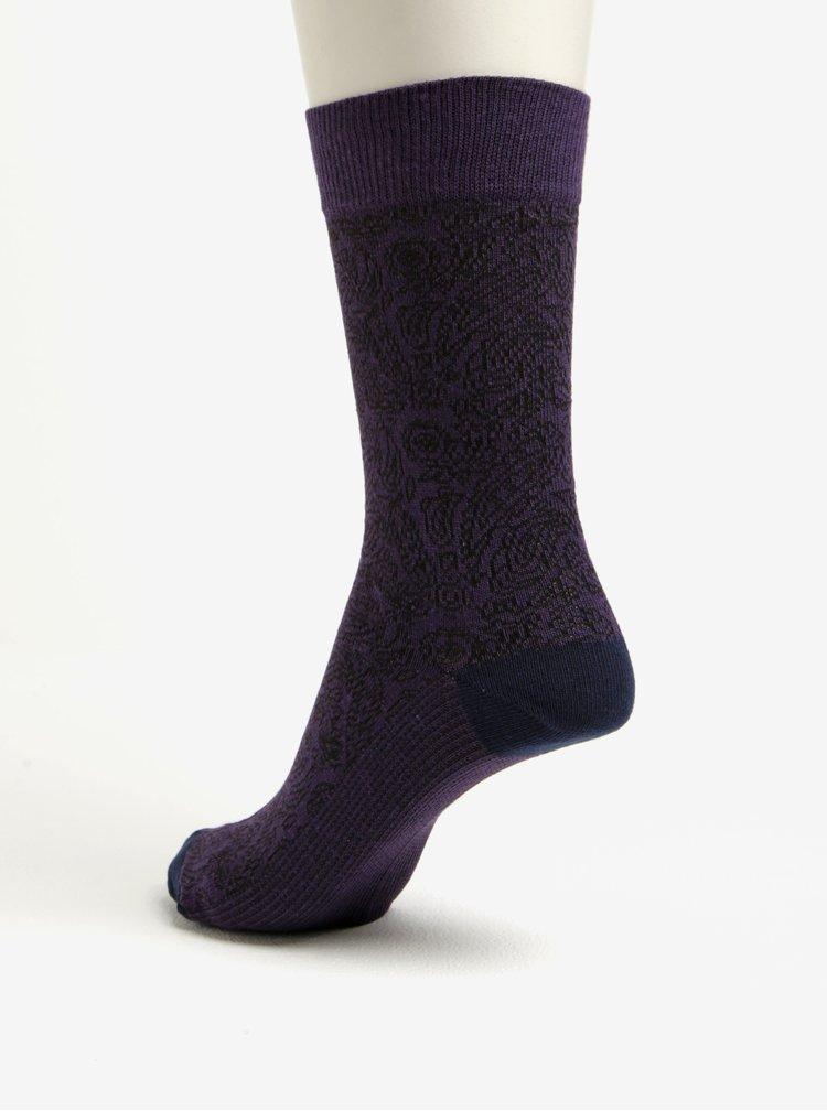 Sada čtyř párů vzorovaných ponožek ve vínové, modré, zelené a šedé barvě barvě Burton Menswear London