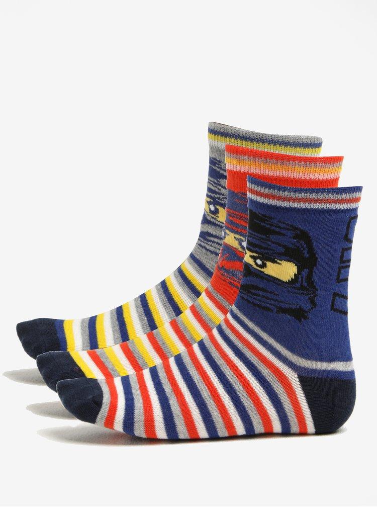 Sada tří párů klučičích ponožek v oranžové a modré barvě Lego Wear Ayan