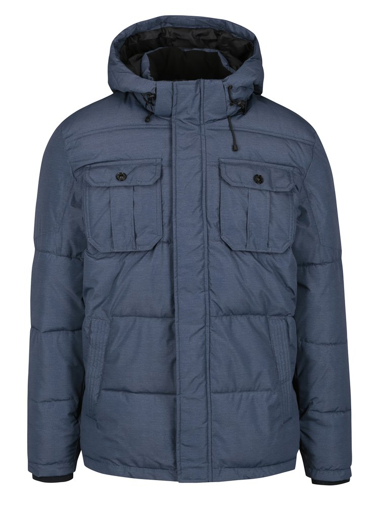 Modrá prošívaná zimní bunda s kapucí Jack & Jones Will