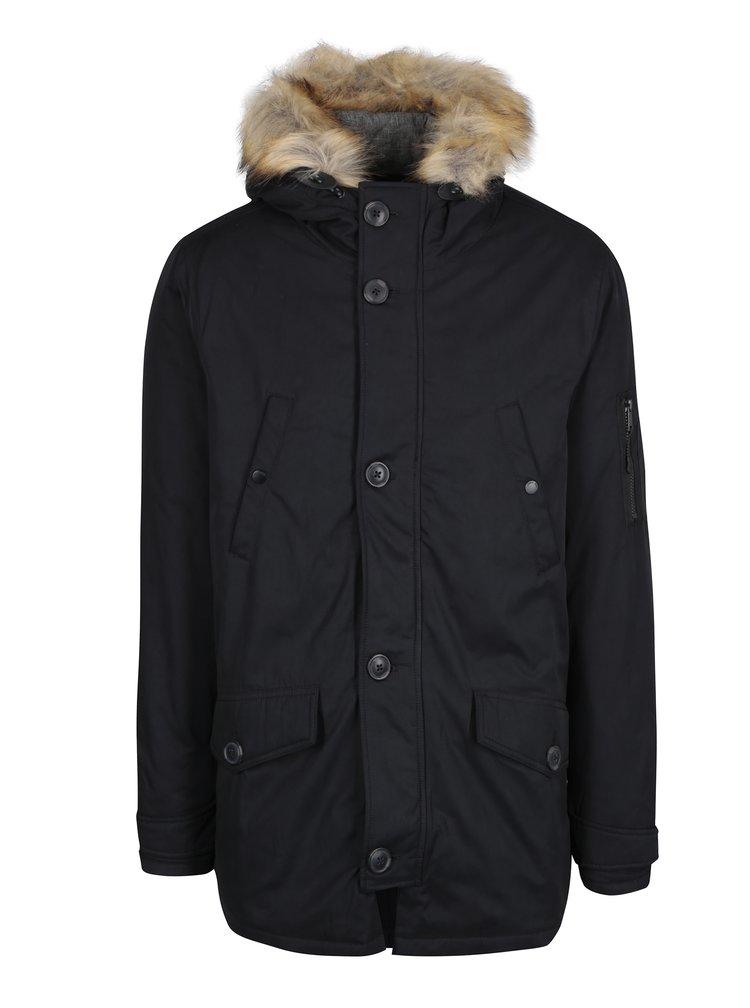 Černá zimní bunda s umělým kožíškem Burton Menswear London