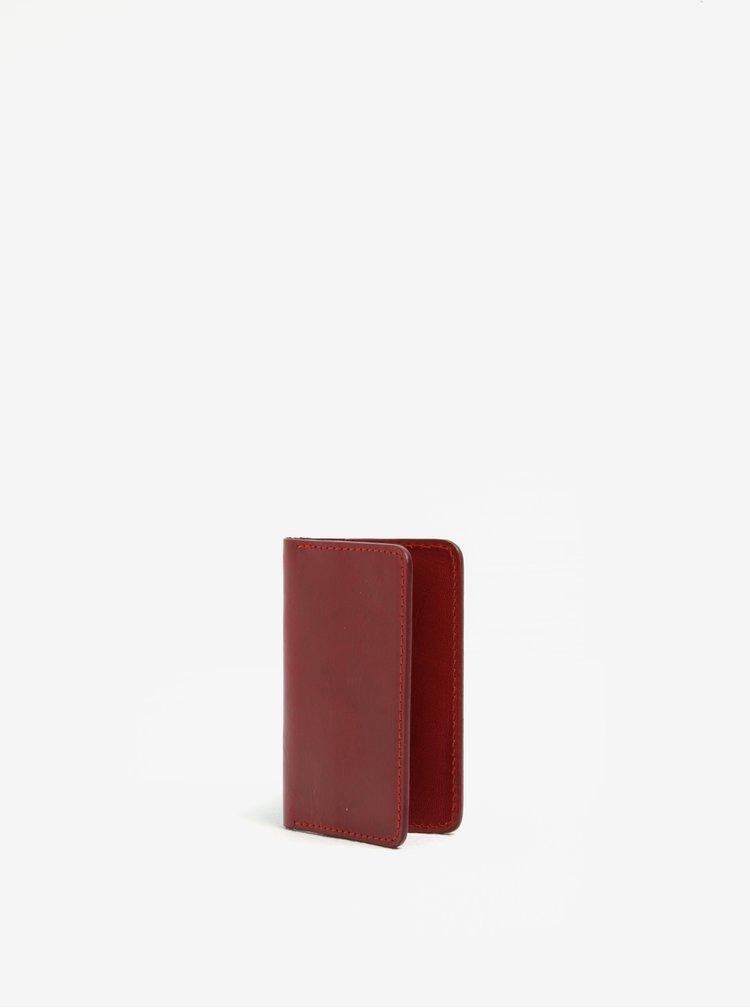Port card rosu din piele naturala pentru carti de vizita -  Elega