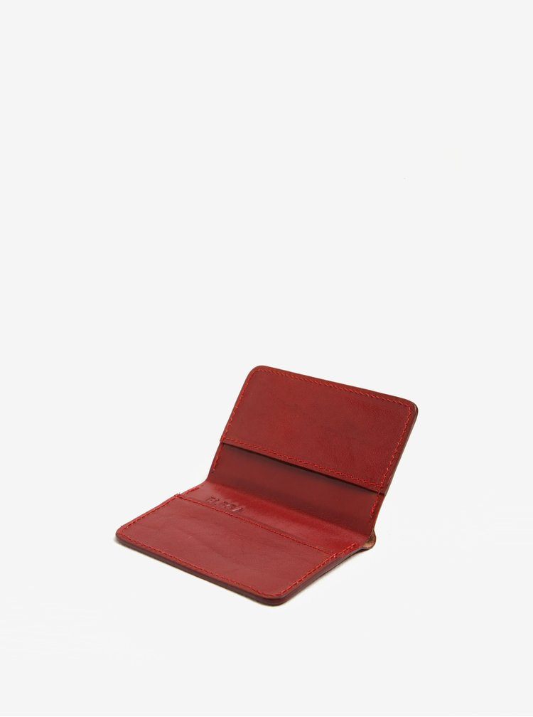 Červené kožené pouzdro na vizitky Elega