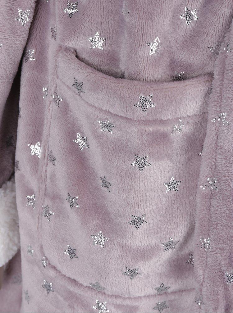 Halat de baie indigo cu mdel stelute si guler pufos - Dorothy Perkins