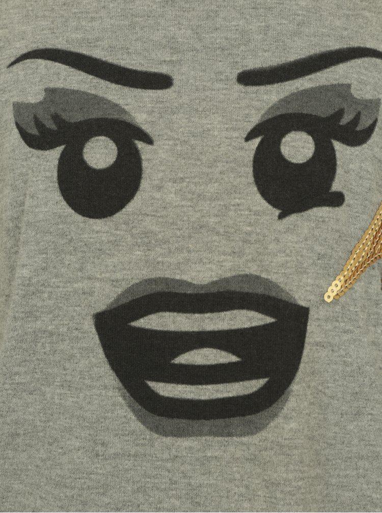 Šedé dlouhé holčičí žíhané tričko s potiskem a výšivkou Lego Wear Trina
