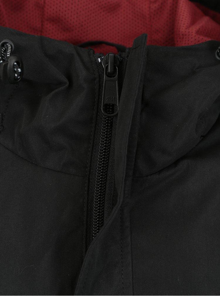 Bílo-černá lehká vzorovaná bunda s kapucí Jack & Jones Anton