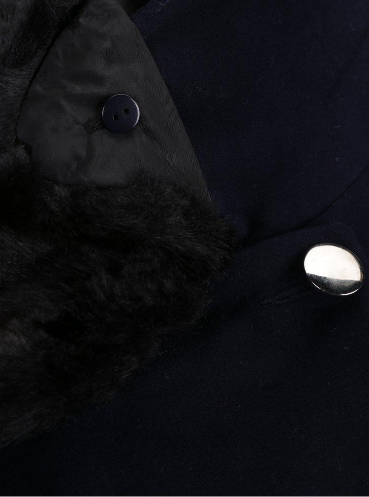 Tmavě modrý kabát s umělou kožešinou Dorothy Perkins Curve