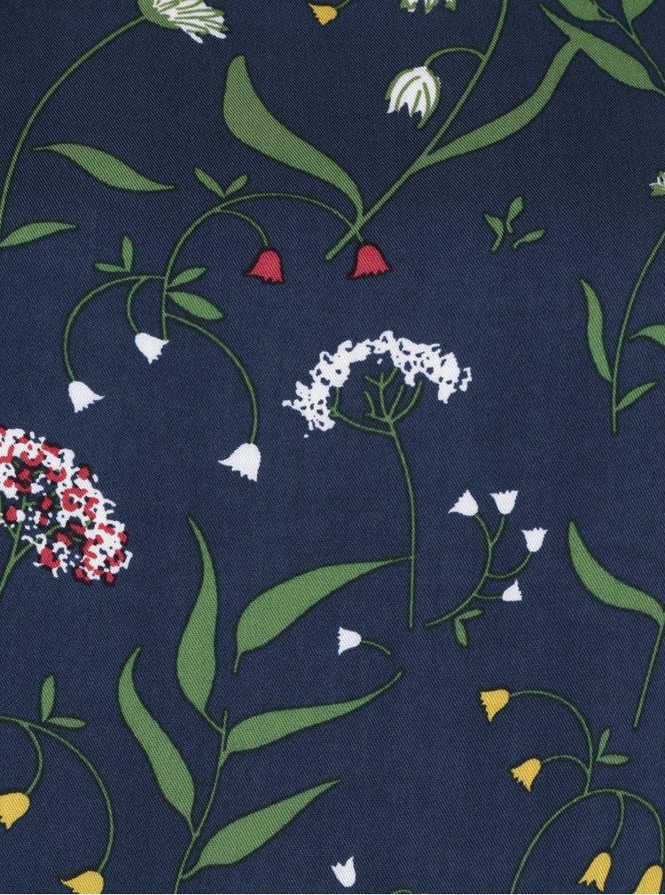Rochie albastru inchis cu model floral si maneci balon VILA Tinkina