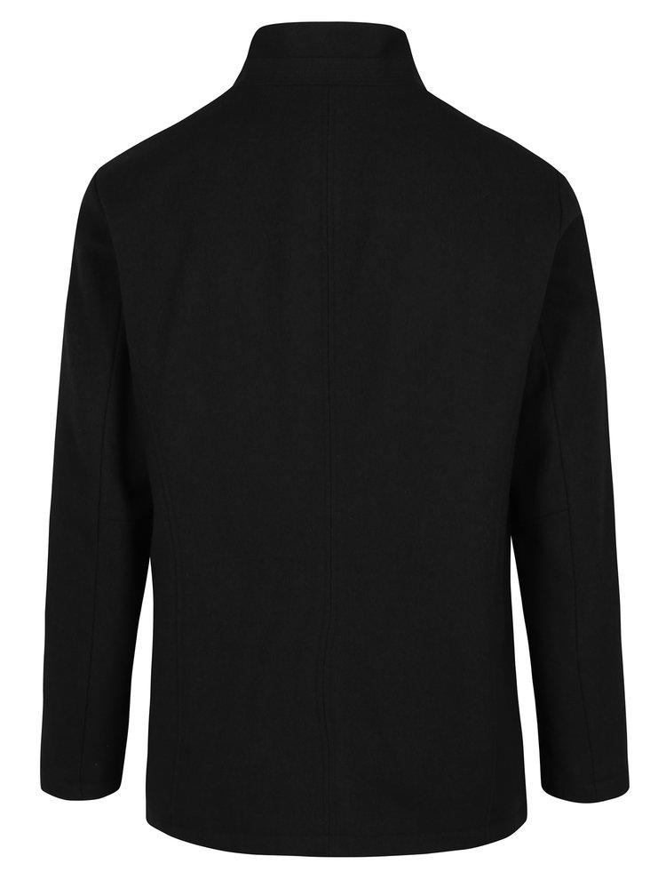 Černý vlněný krátký kabát Jack & Jones Premium Moolin