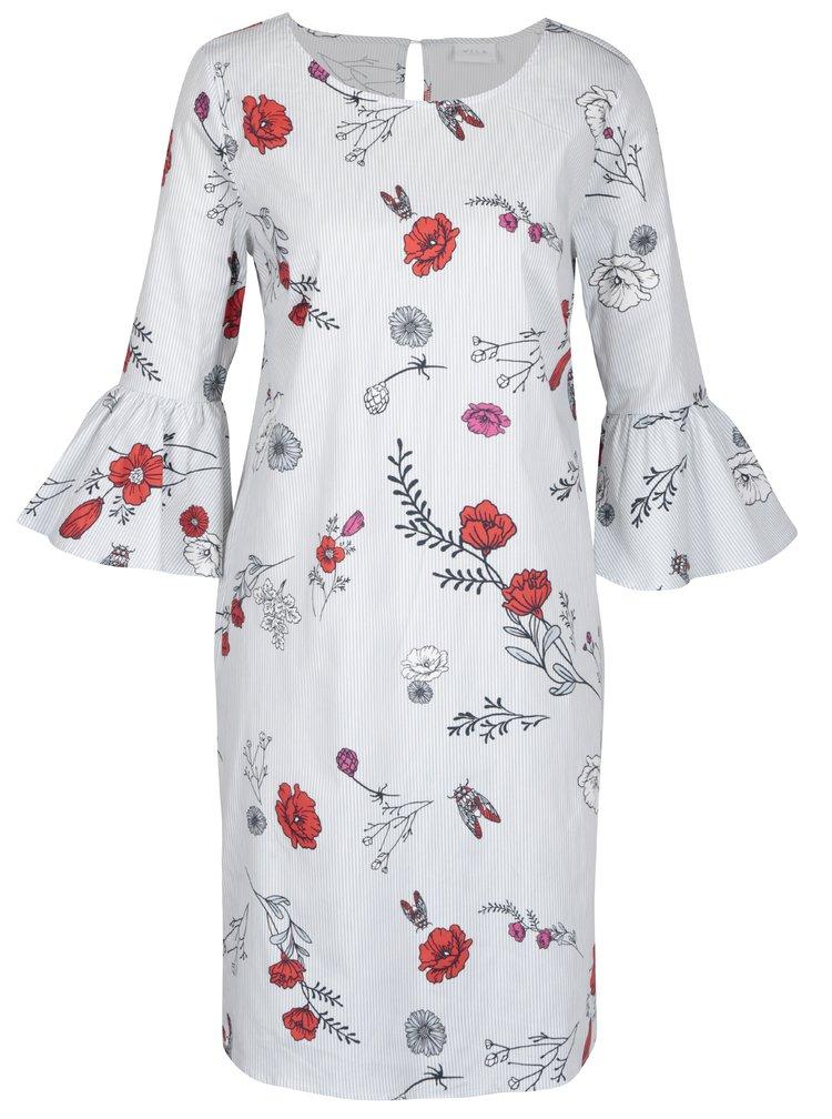 Krémové květované pruhované šaty VILA Mellos