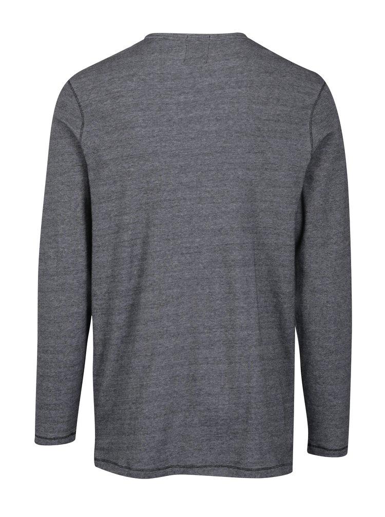 Šedé žíhané tričko s knoflíky Jack & Jones Giovanni