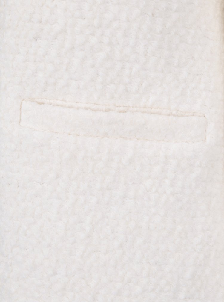 Krémový kabát s umělou kožešinou a příměsí vlny VILA Astal