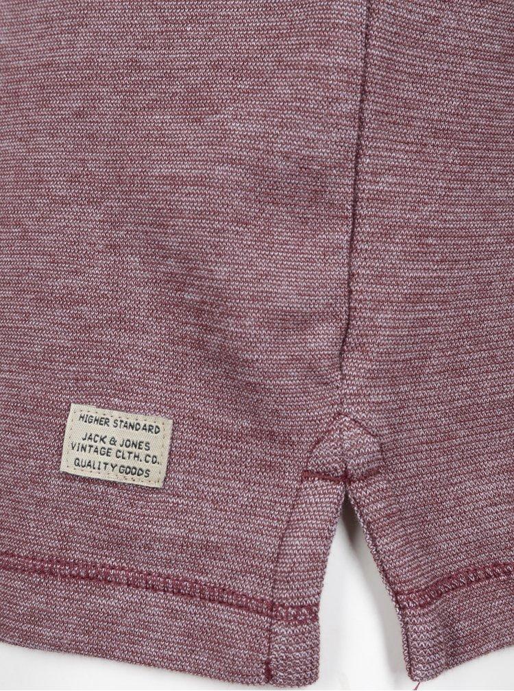 Vínové žíhané tričko s knoflíky Jack & Jones Giovanni