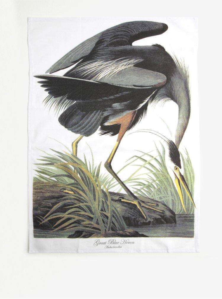 Prosop de bucatarie alb&gri cu model cocostarc - Magpie Blue Heron