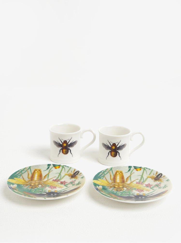 Porcelánový set dvou bílých espresso hrníčků s podšálky Magpie Curios