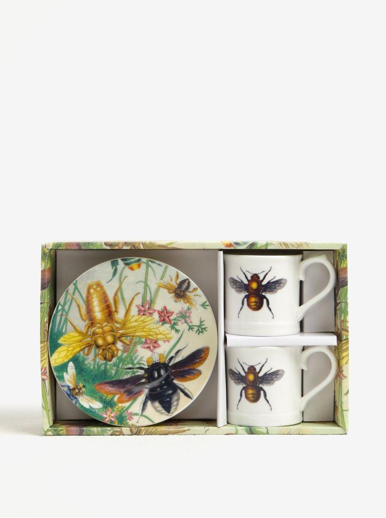 Set multicolor de 2 cesti si farfurii din portelan cu print - Magpie Curios
