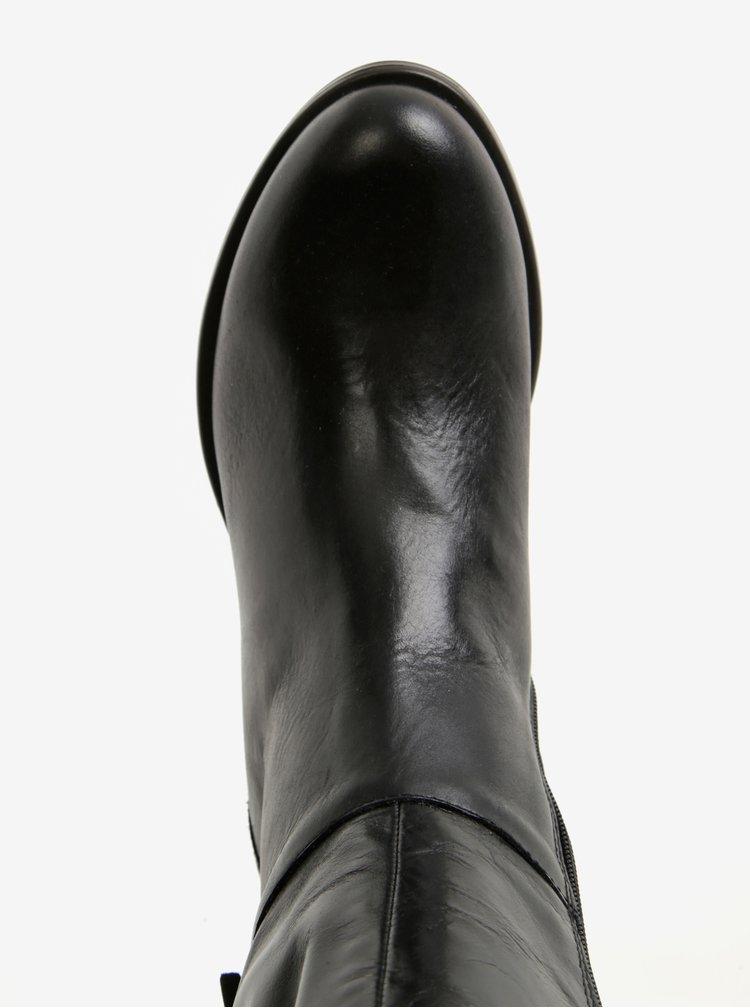 Černé kožené kozačky s přezkou U.S. Polo Assn.