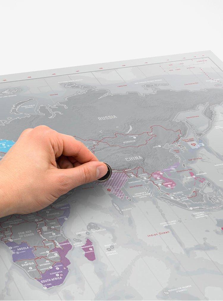 Harta politica a lumii razuibila gri metalic - albastru - Luckies Platinum