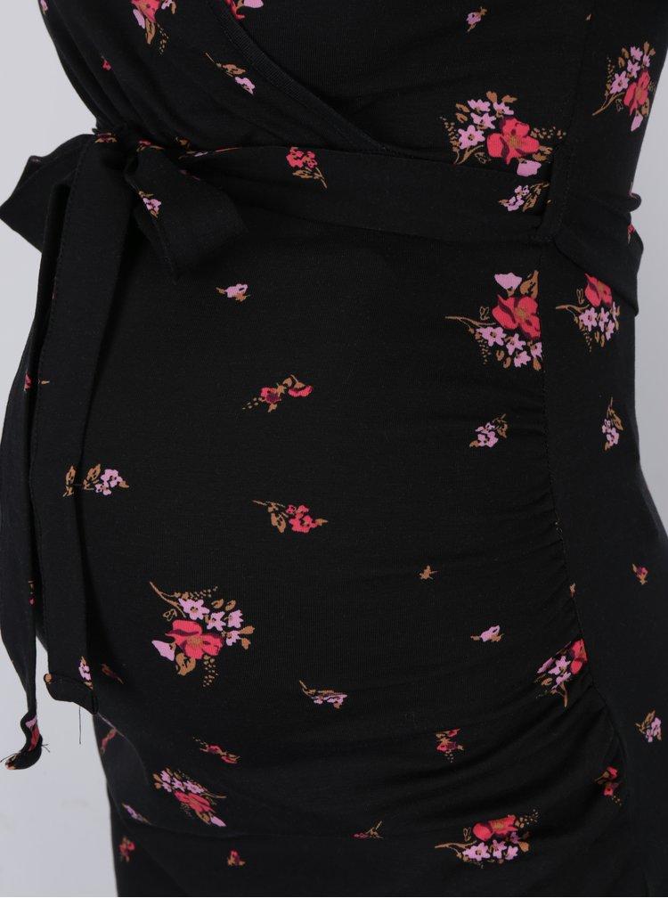 Rochie neagra cu print si maneci 3/4 pentru femei insarcinate / care alapteaza - Dorothy Perkins Maternity