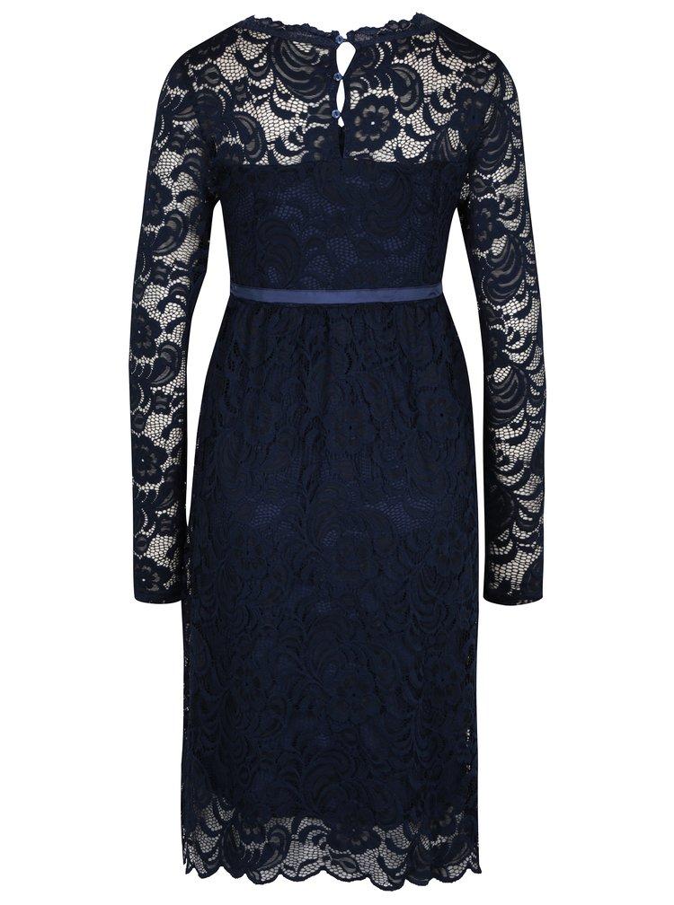 Tmavě modré těhotenské krajkové šaty Mama.licious Mivana