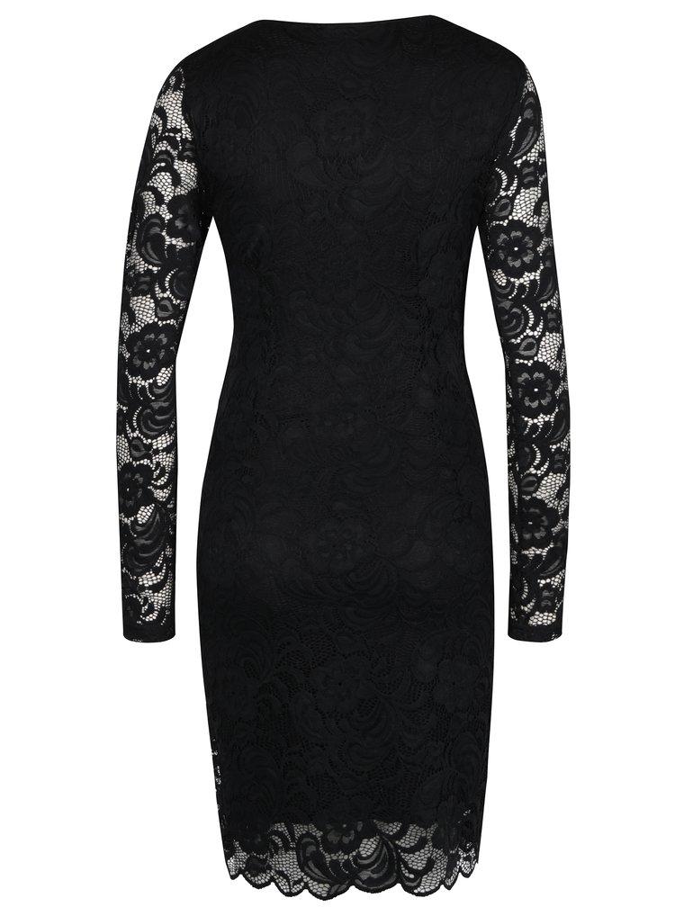 Černé těhotenské/kojicí krajkové šaty s překládaným výstřihem Mama.licious Mivana
