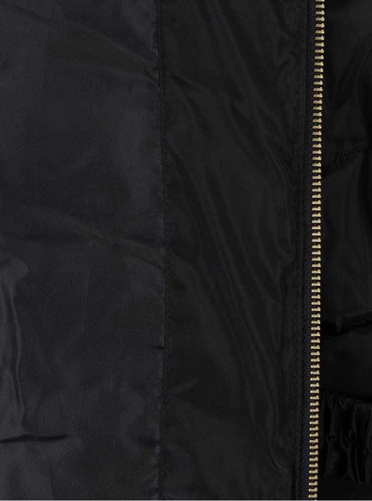 Geaca neagra matlasata de iarna cu gluga si blana artificiala - Dorothy Perkins Petite
