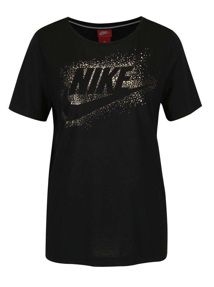 Tricou negru cu print auriu pentru femei - Nike Metallic