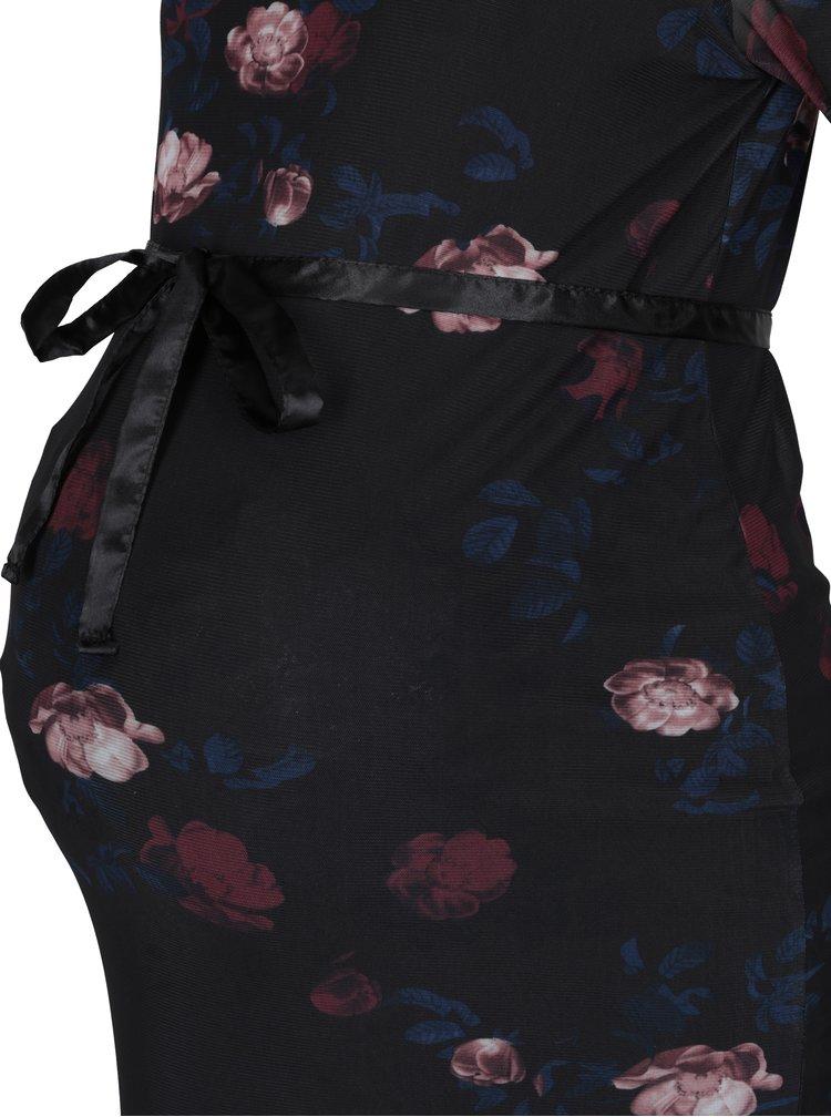 Černé těhotenské květované šaty Mama.licious Flawn