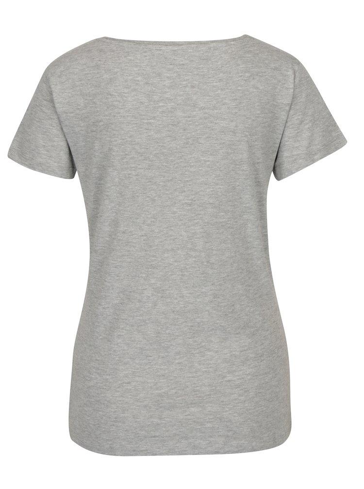 Šedé žíhané tričko s potiskem Jacqueline de Yong Chicagos