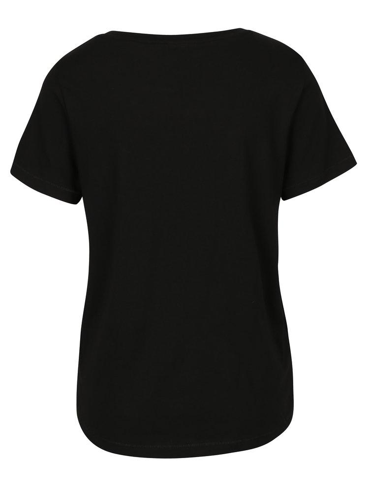 Tricou negru&crem cu print inscriptie ONLY Alba