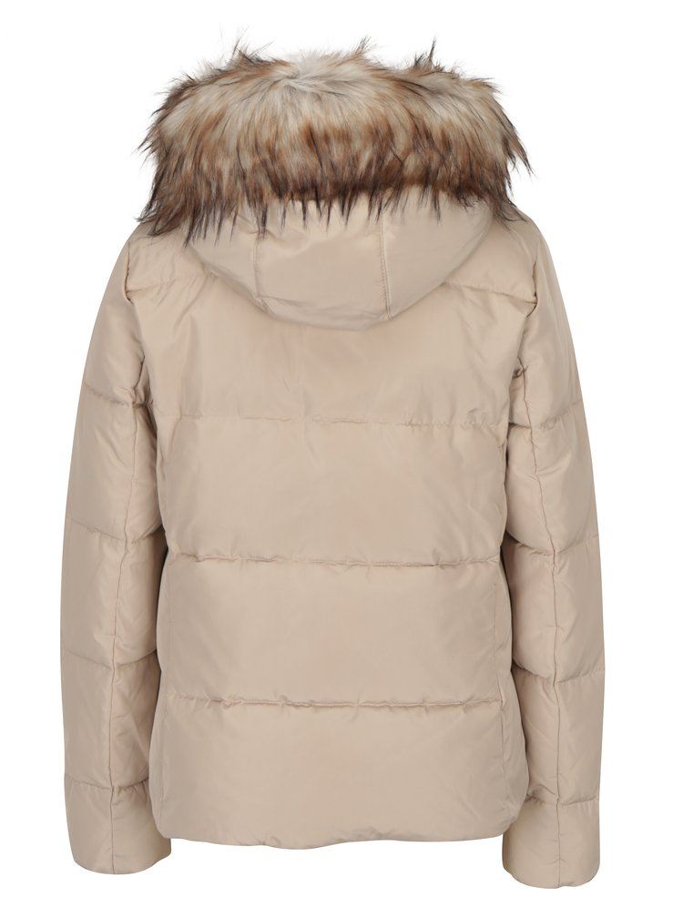 Béžová prošívaná péřová bunda s umělým kožíškem ONLY Rhoda
