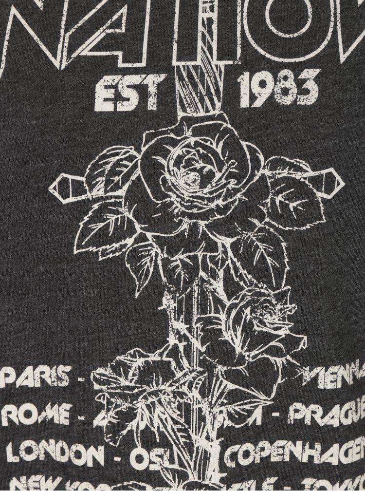 Tricou gri inchis&crem cu print inscriptie si dantela ONLY Prince