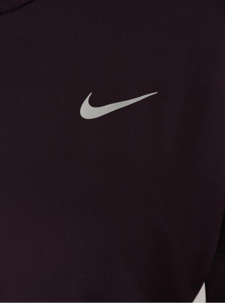 Tmavě fialové dámské funkční tričko s dlouhým rukávem Nike Element Flash