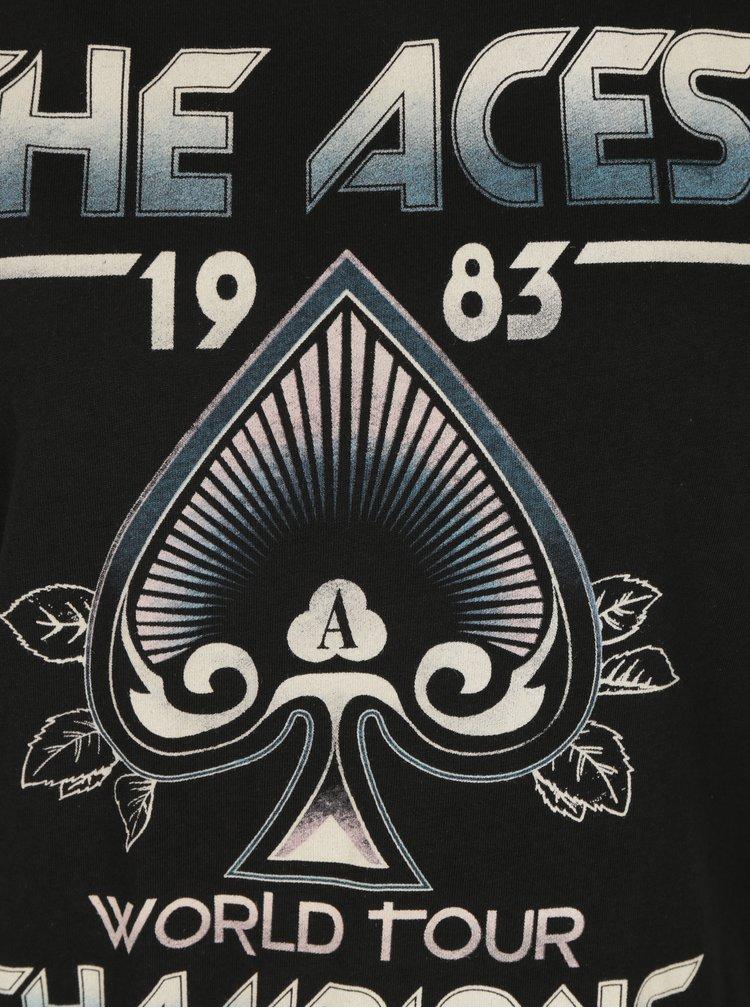 Černé tričko s potiskem Aces a krajkou ONLY Prince