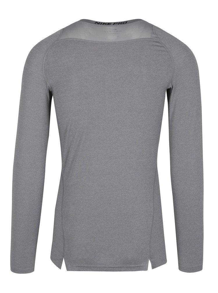 Šedé pánské kompresní tričko s dlouhým rukávem Nike