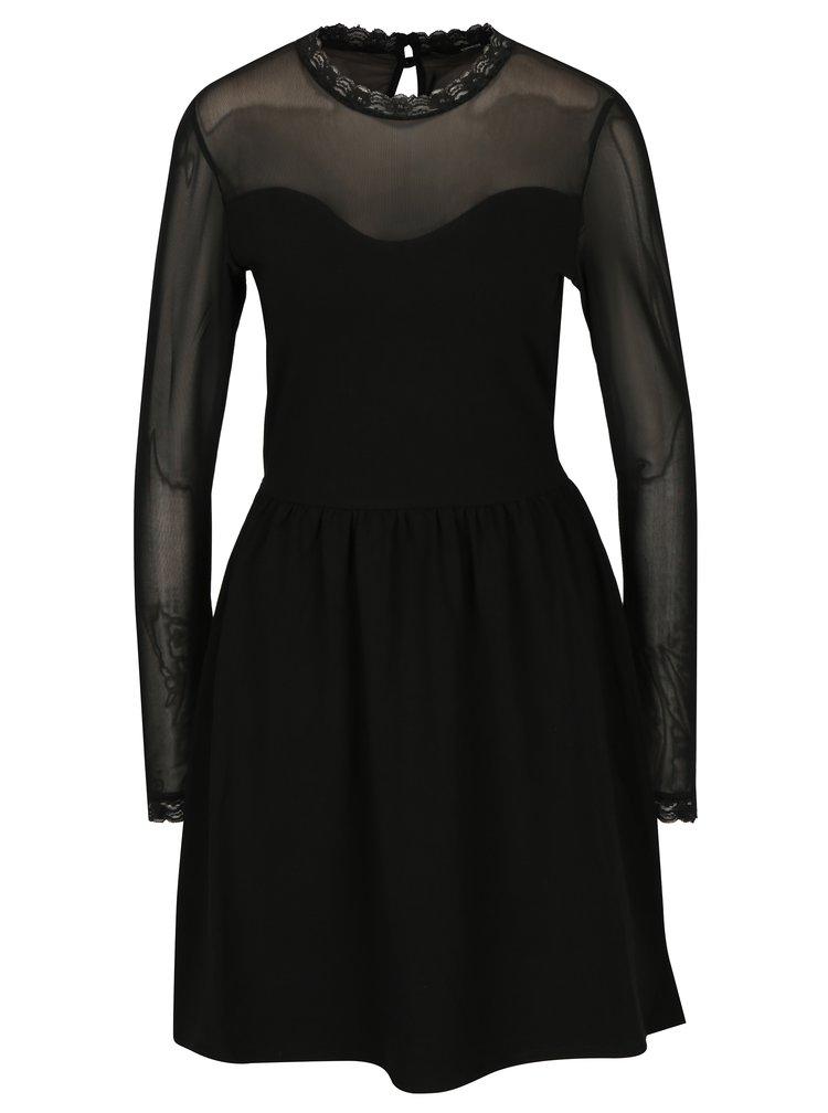 Černé šaty s průsvitným sedlem a rukávy ONLY Niella