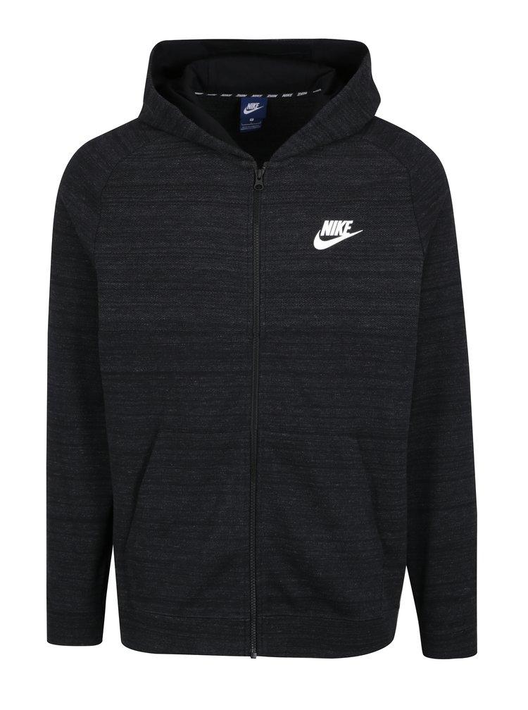 Tmavě šedá pánská žíhaná mikina s kapucí Nike Hoodie