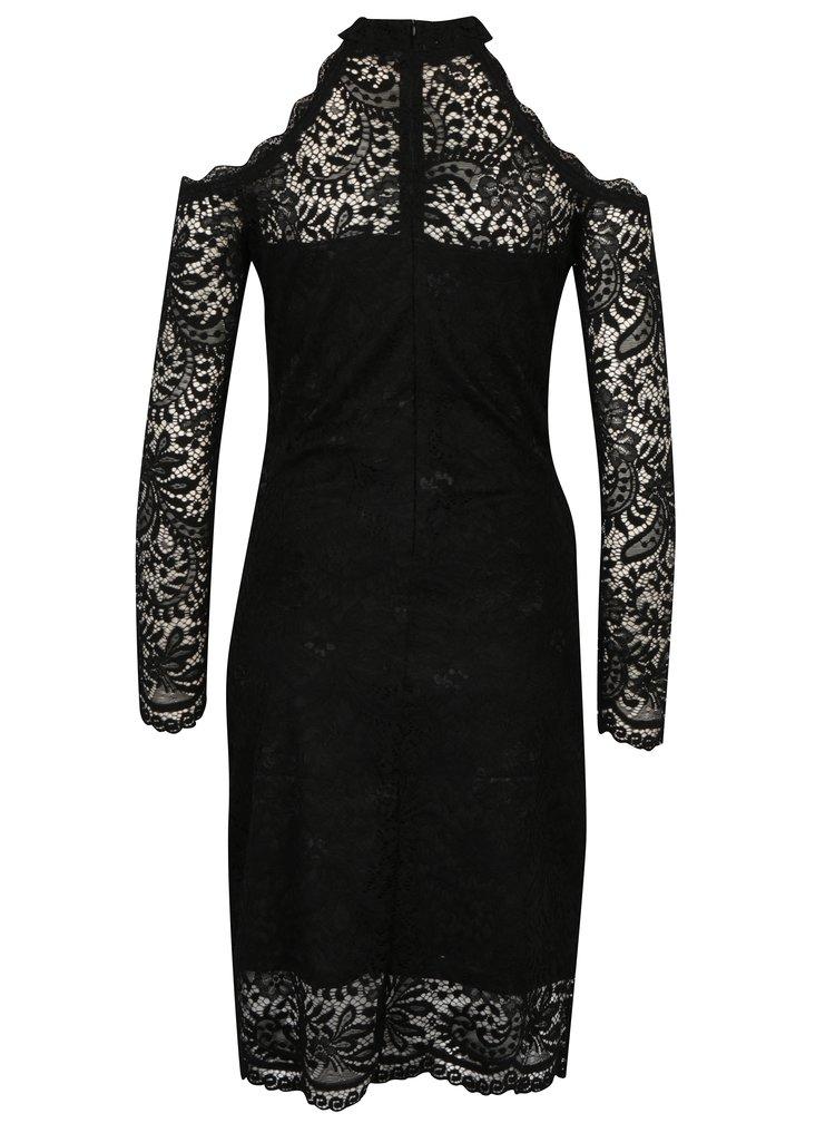 Černé krajkové šaty s odhalenými rameny ONLY Going