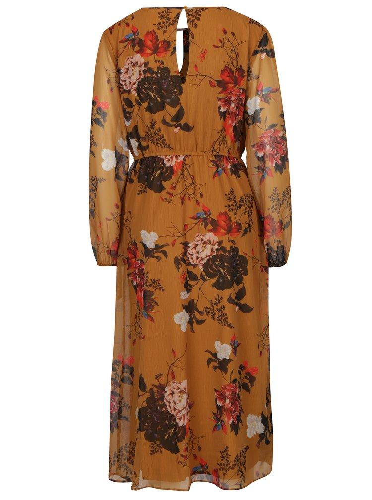 Hořčicové květované šaty ONLY Oda